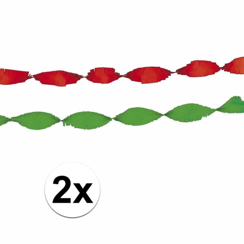 Crepe papier decoratie rood-groen