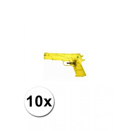 10 gele speelgoed waterpistolen 20 cm