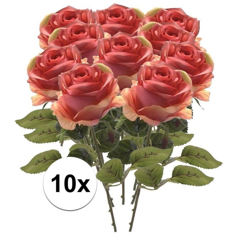 10x Roze roos kunstbloem Simone 45 cm
