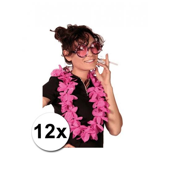 12 Luxe roze Hawaii kransen