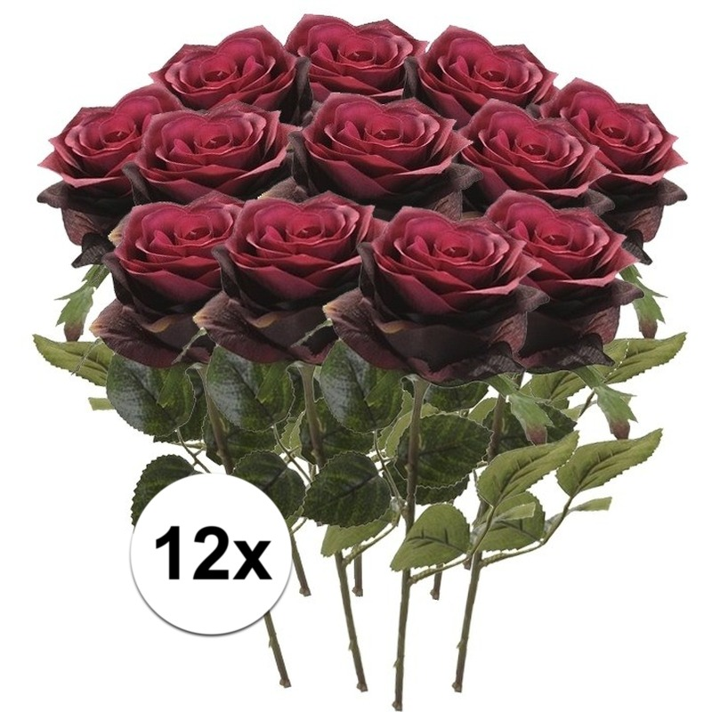 12x Donker rode rozen Simone kunstbloemen 45 cm