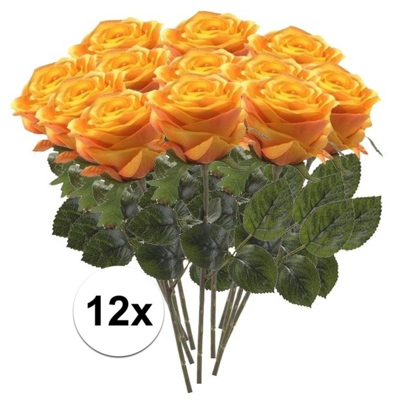 12x Geel/oranje rozen Simone kunstbloemen 45 cm
