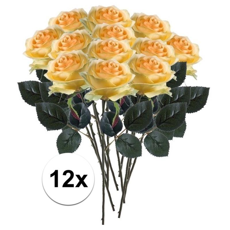 12x Gele rozen Simone kunstbloemen 45 cm