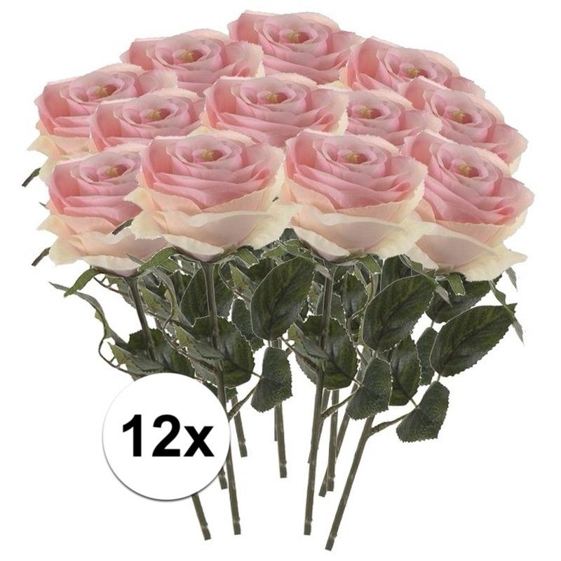 12x Licht roze rozen Simone kunstbloemen 45 cm