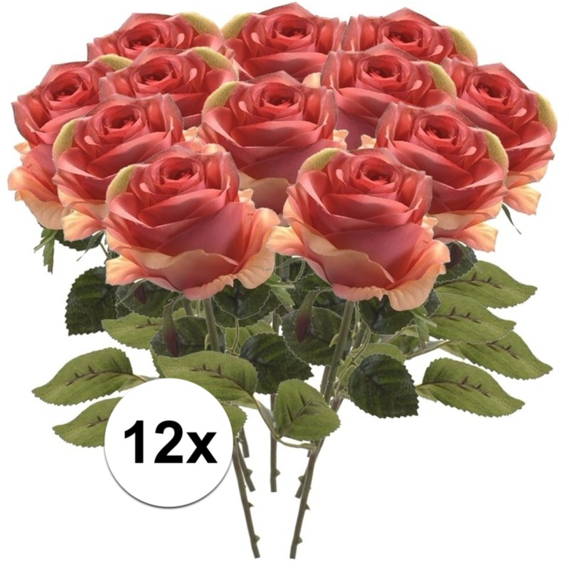 12x Roze roos kunstbloem Simone 45 cm