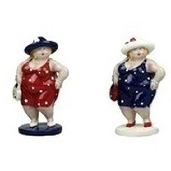 2x Dikke staande dames beeldjes 20 cm in rode-donkerblauwe jur