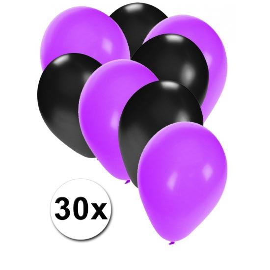 30x ballonnen paars en zwart