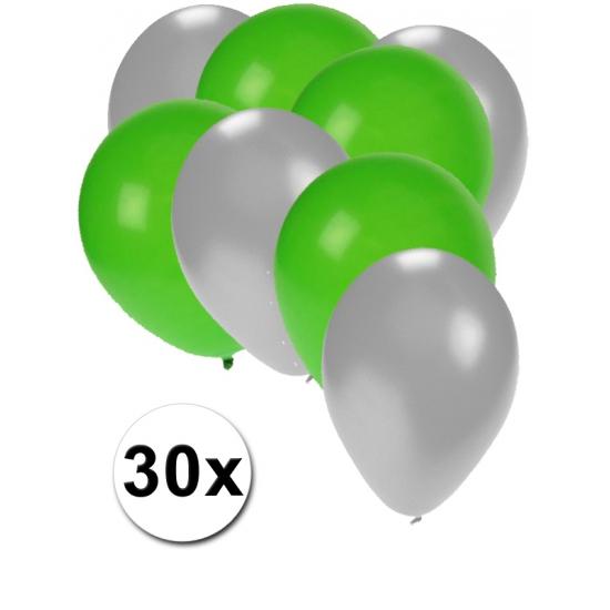 30x ballonnen zilver en groen