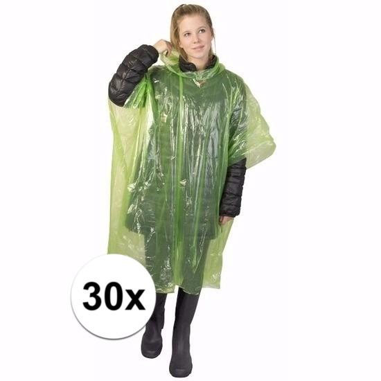 30x wegwerp regenponcho groen
