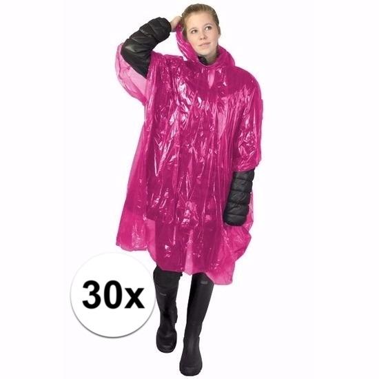 30x wegwerp regenponcho roze