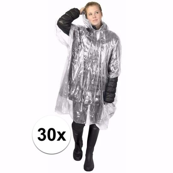 30x wegwerp regenponcho transparant