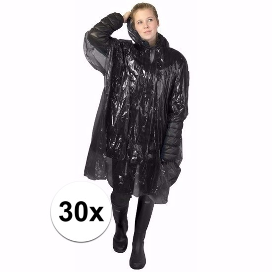 30x wegwerp regenponcho zwart