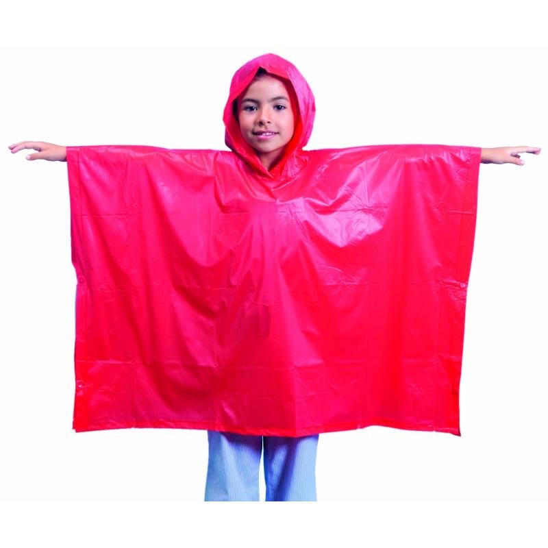 4x stuks Kinder regen ponchos rood