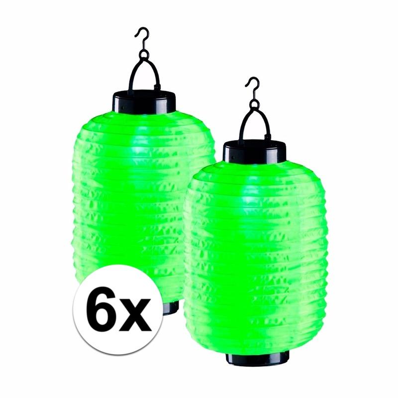 6x groene solar lampionnen 35 cm