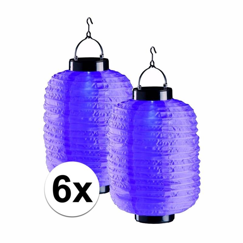 6x paarse solar lampionnen 35 cm