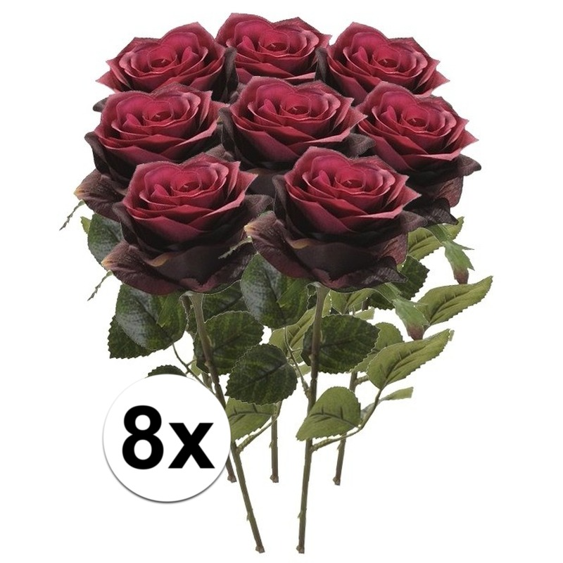 8x Donker rode rozen Simone kunstbloemen 45 cm