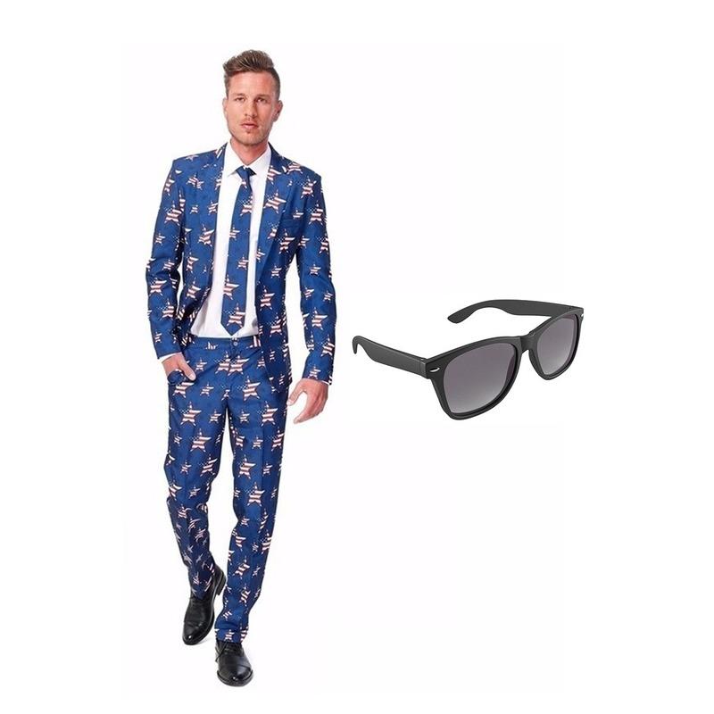 Amerikaanse vlag heren kostuum maat 52 (XL) met gratis zonnebril