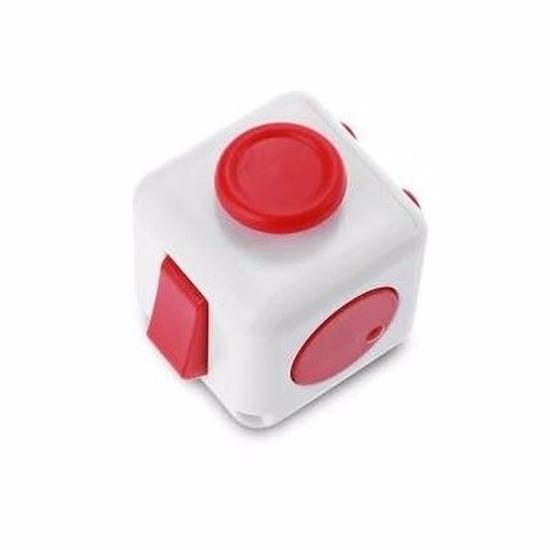 Anti stress kubus wit/rood 4 cm