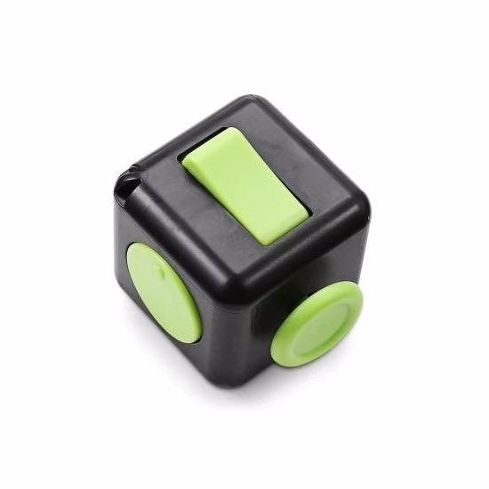 Anti stress kubus zwart/groen 4 cm