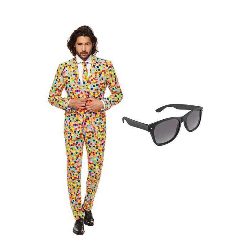 Confetti print heren kostuum maat 52 (XL) met gratis zonnebril