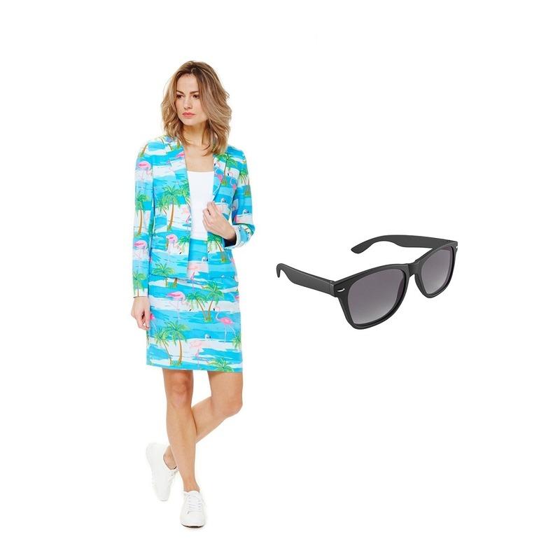 Dames mantelpak flamingo print maat 40 (L) met gratis zonnebril