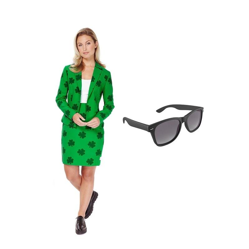 Dames mantelpak klavertje print 42 (XL) met gratis zonnebril