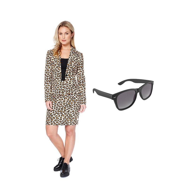 Dames mantelpak luipaard print maat 40 (L) met gratis zonnebril