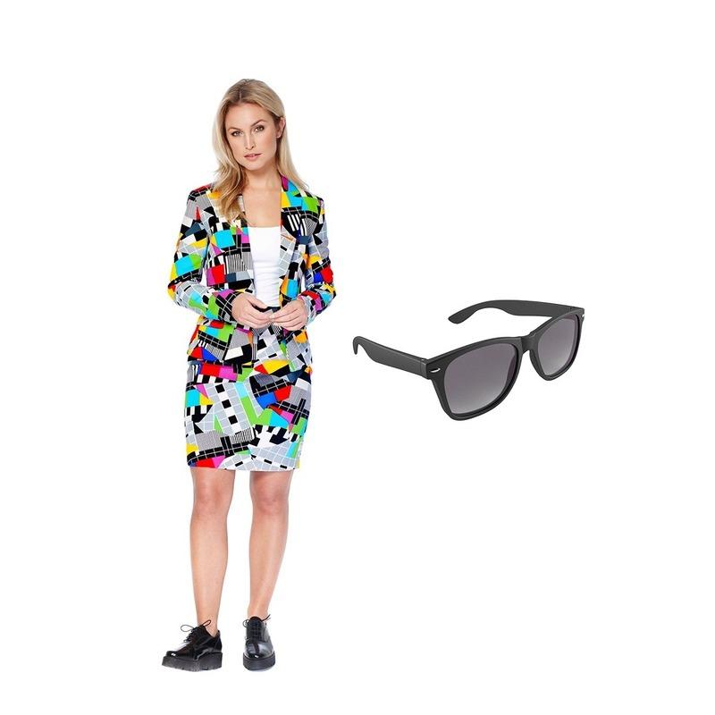 Dames mantelpak testbeeld print 36 (S) met gratis zonnebril