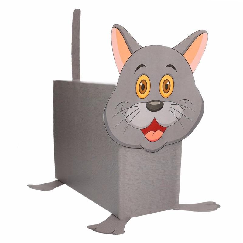 Grijze kat/poes surpise bouwen voor kinderen