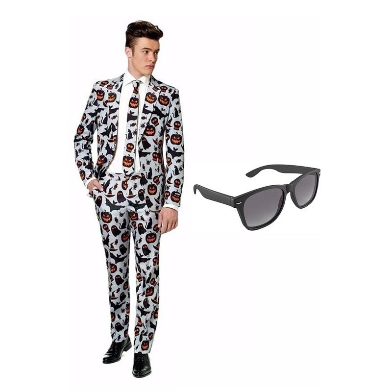 Halloween print heren kostuum maat 50 (L) met gratis zonnebril