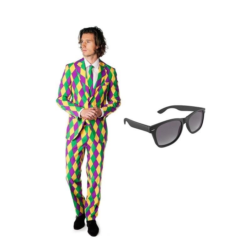 Harlekijn print heren kostuum maat 52 (XL) met gratis zonnebril