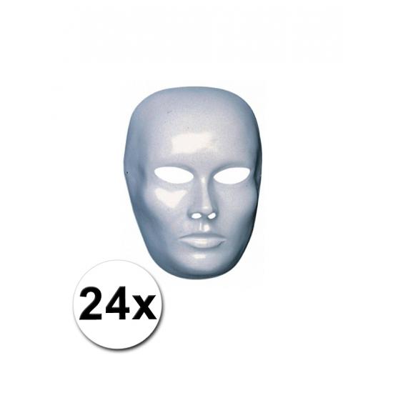 Heren gezicht maskers wit 24 st