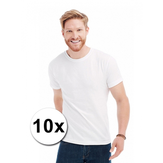 Herenkleding 10x witte t-shirts ronde hals