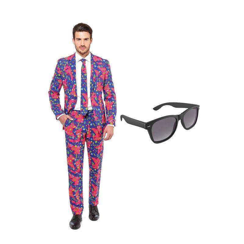 Jaren 90 print heren kostuum maat 46 (S) met gratis zonnebril