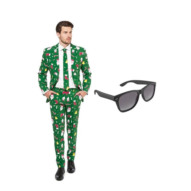 Kerst print heren pak maat 58 (XXXXL) met gratis zonnebril