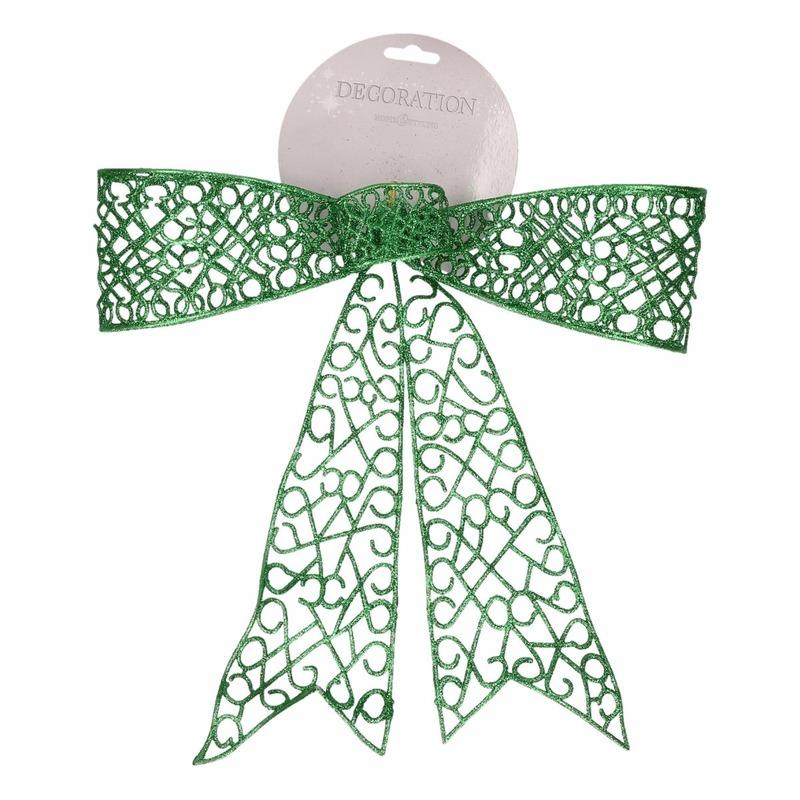 Kerstdecoratie strik groen 36 cm