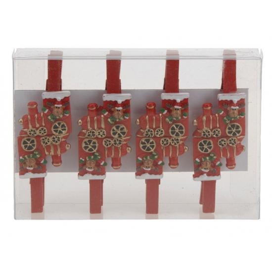 Kerstkaart knijpers rendier in trein 8 stuks