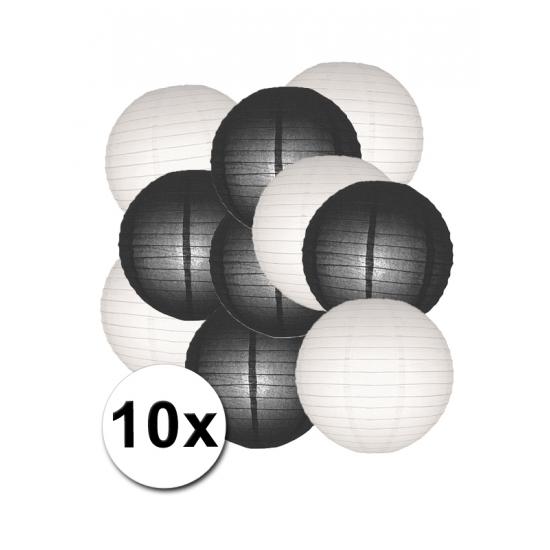 Lampionnen pakket zwart en wit 10x