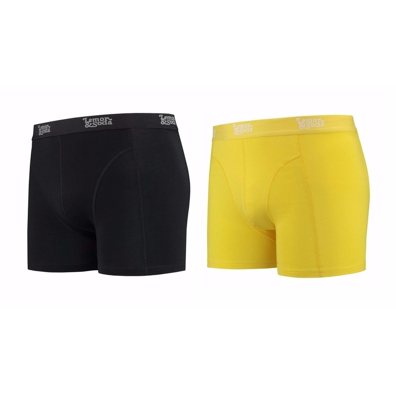 Lemon and Soda boxershorts 2-pak zwart en geel M