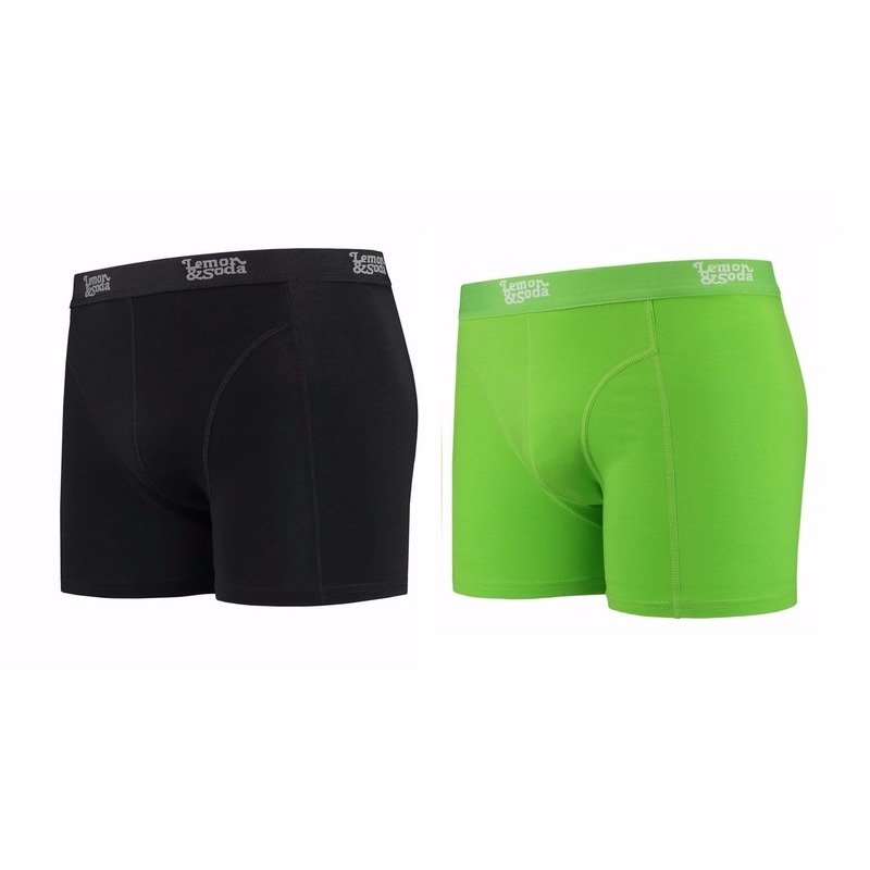 Lemon and Soda boxershorts 2-pak zwart en groen L