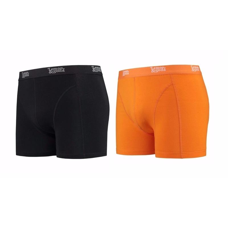 Lemon and Soda boxershorts 2-pak zwart en oranje 2XL
