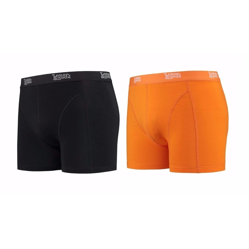 Lemon and Soda boxershorts 2-pak zwart en oranje S