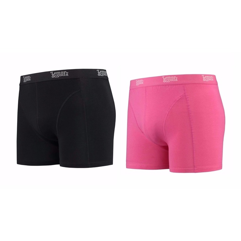 Lemon and Soda boxershorts 2-pak zwart en roze M