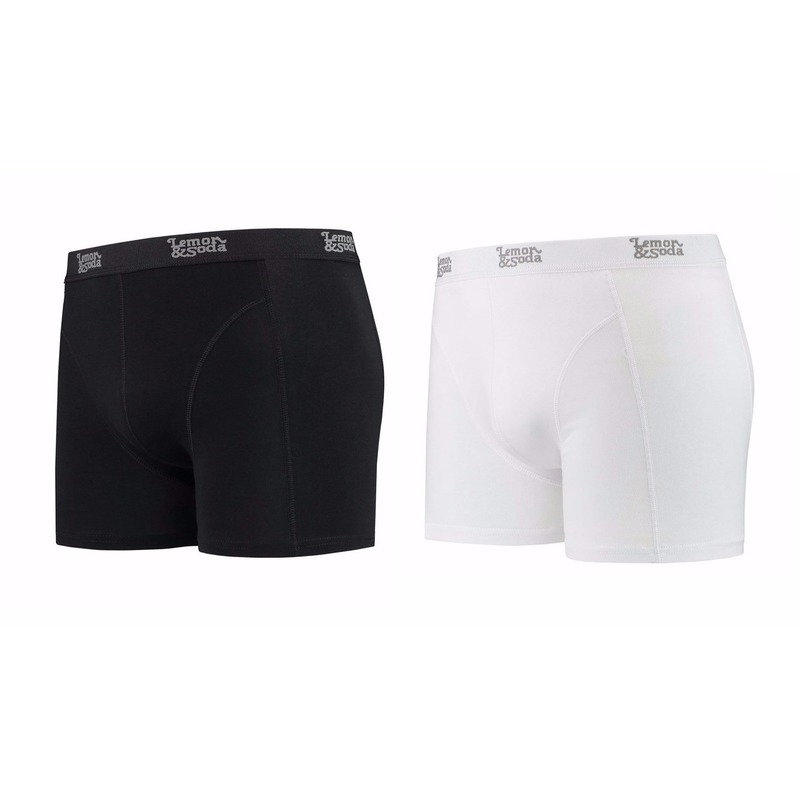Lemon and Soda boxershorts 2-pak zwart en wit 2XL