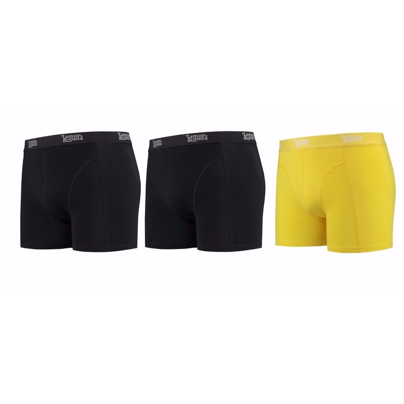Lemon and Soda boxershorts 3-pak zwart en geel 2XL