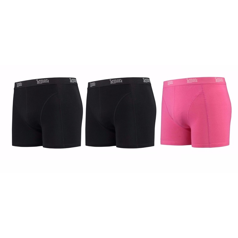 Lemon and Soda boxershorts 3-pak zwart en roze L