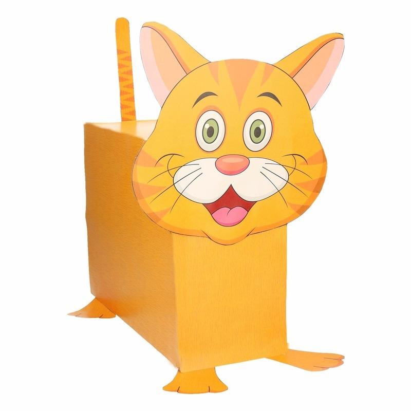 Oranje kat/poes surpise bouwen voor kinderen