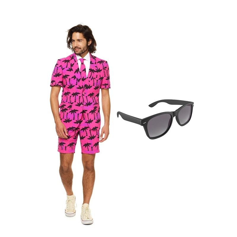 Palmbomen zomer heren kostuum maat 46 (S) met gratis zonnebril