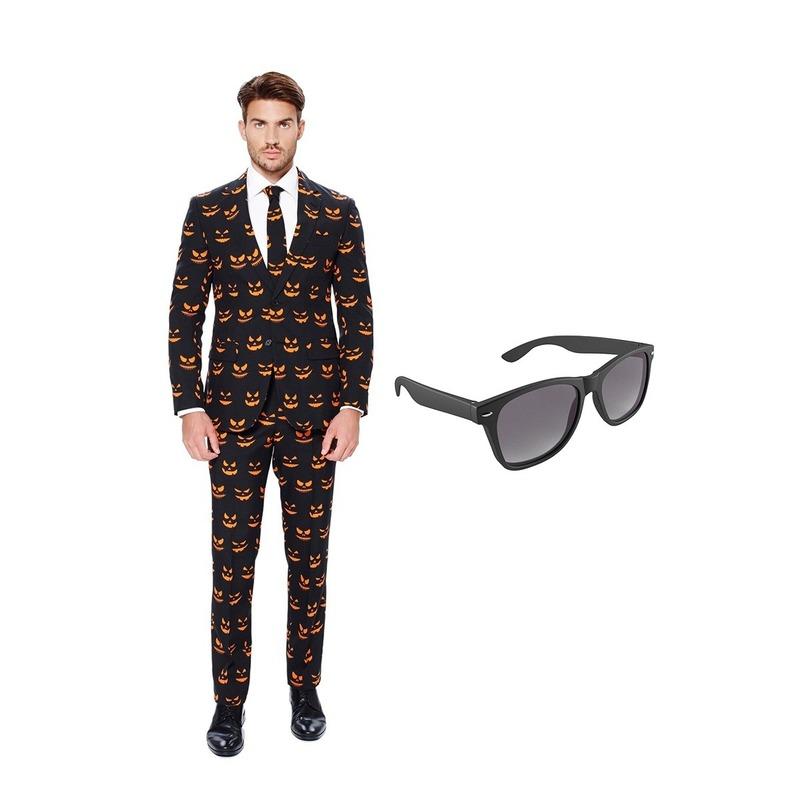 Pompoen print heren kostuum maat 56 (XXXL) met gratis zonnebril