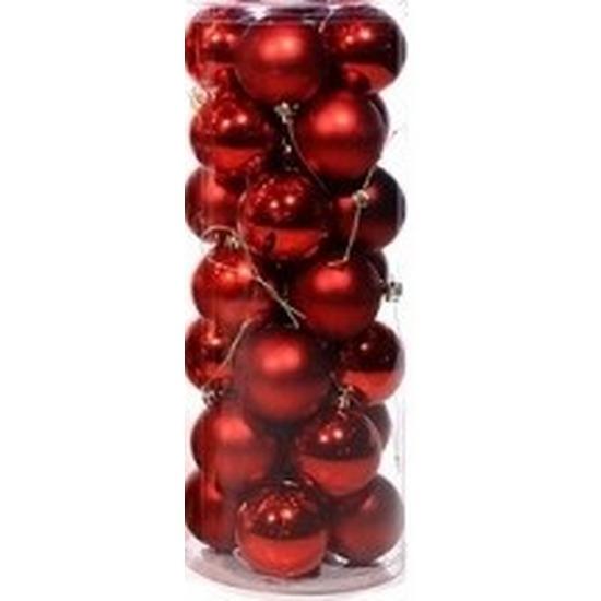 Rode kerstballen 28 stuks 6 cm